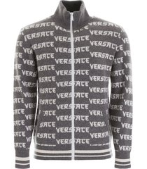 versace monogram zipped cardigan