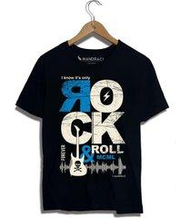 camiseta rock in roll mandrac preta - preto - masculino - algodã£o - dafiti