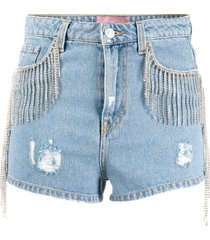 chiara ferragni distressed fringed denim shorts - blue