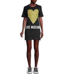 love moschino women's heart logo t-shirt dress - black - size 42 (8)