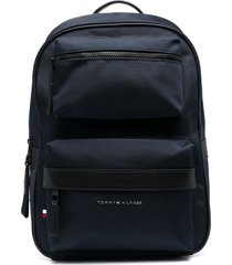 tommy hilfiger recycled-polyester zipped-pockets backpack - blue
