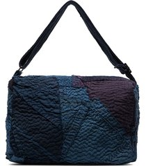 by walid exclusive square print patchwork tote bag - blue