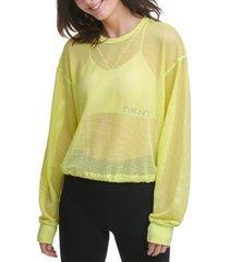 dkny sport long-sleeve mesh top