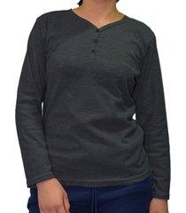camiseta manga larga gris oscuro santana henley