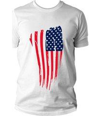 camiseta criativa urbana bandeira eua usa branca