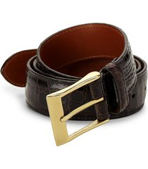 saks fifth avenue men's crocodile leather belt - dark brown - size 34