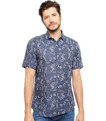 camisa arrow mc print denim azul - calce regular