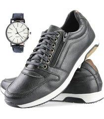 sapatenis dhl calçados neway florense casual easywear preto + relógio