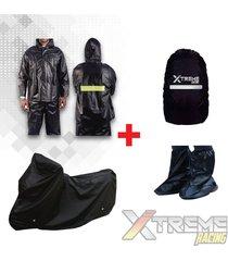 impermeable + pijama para moto sencilla + forro maleta + zapatones
