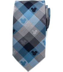 men's cufflinks, inc. mickey mouse plaid silk tie, size regular - blue