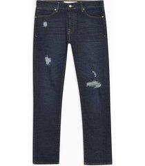 mens blue indigo ripped stretch slim jeans