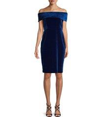 calvin klein women's off-the-shoulder velvet dress - sapphire - size 4