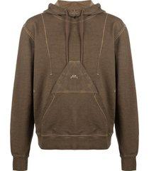 diesel triangle-pocket hoodie - brown