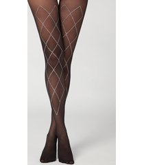 calzedonia 30 denier sheer tights with rhinestone appliqué details woman black size 1/2