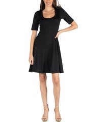 24seven comfort apparel a-line knee length dress with elbow length sleeves