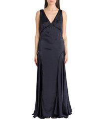 jil sander long satin dress
