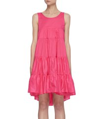 'calypso' sleeveless open back tiered cotton mini dress