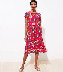 loft maternity floral pleated flare dress