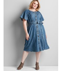 lane bryant women's chambray button-front fit & flare dress 26/28 chambray