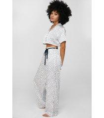 womens dream a little dream satin spotty pants pajama set - cream