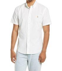 polo ralph lauren ralph lauren classic fit short sleeve button-down shirt, size medium in white at nordstrom