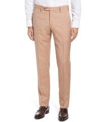 men's zanella parker flat front sharkskin wool trousers, size 40 x r - orange