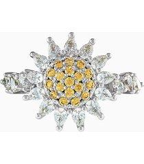 anello botanical, giallo, placcato rodio
