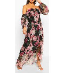 mesh bloemenprint maxi jurk met ruches, black