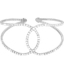bracciale bangle big in metallo rodiato e cristalli per donna