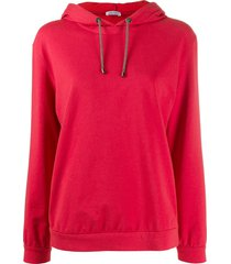 brunello cucinelli relaxed-fit long-sleeved hoodie - red