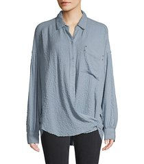 textured long-sleeve shirt