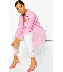 oversized acid wash rigid denim shirt, pink