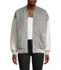 allsaints women's base wool bomber jacket - light grey - size s