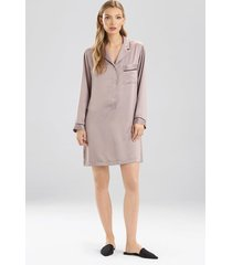 natori feather satin essentials notch collar sleepshirt pajamas, women's, silver, size s natori