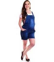 macacã£o gestante & cia lara jeans curto - azul - feminino - dafiti
