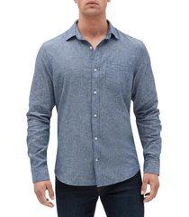 camisa lino blend hombre azul gap