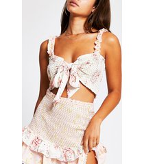 river island womens light pink floral tie front beach top