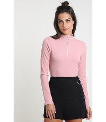 blusa feminina canelada com zíper de argola manga longa gola alta rosê