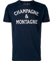 champagne & montagne blue t-shirt