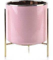 kwietnik metalowy osłonka ceramiczna różowa s