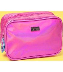 nécessaire média puket unicórnio glitter pink