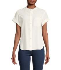 equipment women's button-front silk top - natural white - size xs