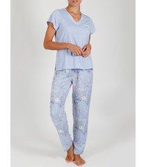 pyjama's / nachthemden admas pyjama binnenkleding broek t-shirt lichtblauw bloemen