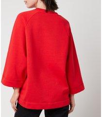 ganni women's isoli oversized raglan smiley sweatshirt - flame scarlet - s/m