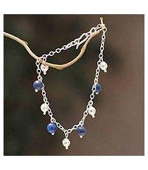 lapis lazuli charm bracelet, 'blue moons' (peru)
