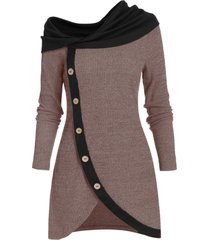 cowl neck mock button asymmetric longline sweater
