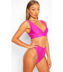 mix & match plunge bikini top, purple