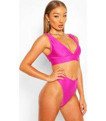 mix & match plunge bikini top, purple