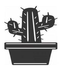 enfeite decorativo planta cacto silhueta preto mdf 43x22x1cm