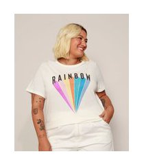 "camiseta feminina plus size rainbow"" manga curta off white"""